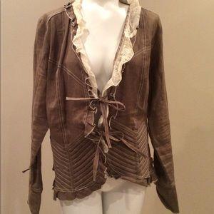 Yuvita Linen Ruffle Jacket, Sz 12